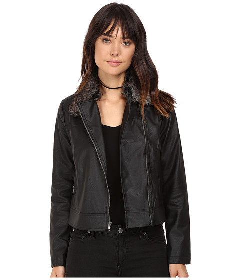 Jack by BB Dakota Leonce Textured Faux Leather Jacket w/ Removable Faux Fur Collar