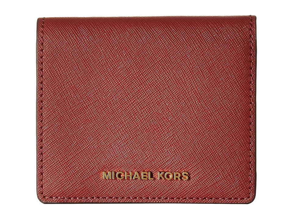 MICHAEL Michael Kors - Jet Set Travel Carryall Card Case (Brick) Credit card Wallet