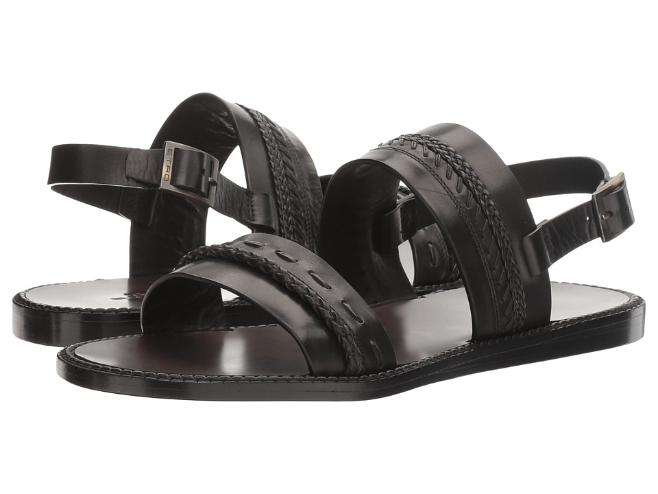 Etro Whipstitch Sandal (Black) Men