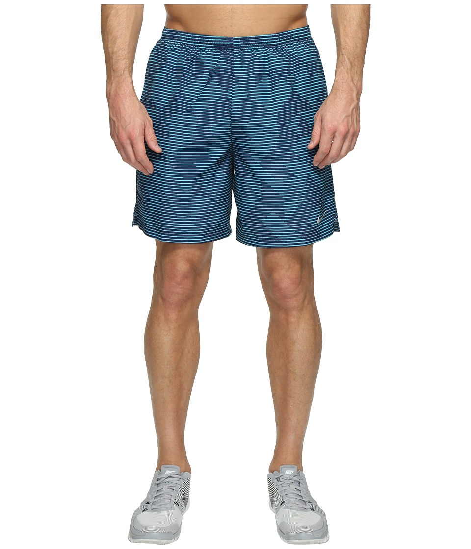 Nike Dry Challenger 7 Printed Running Short (Binary Blue/Black/Reflective Silver) Men