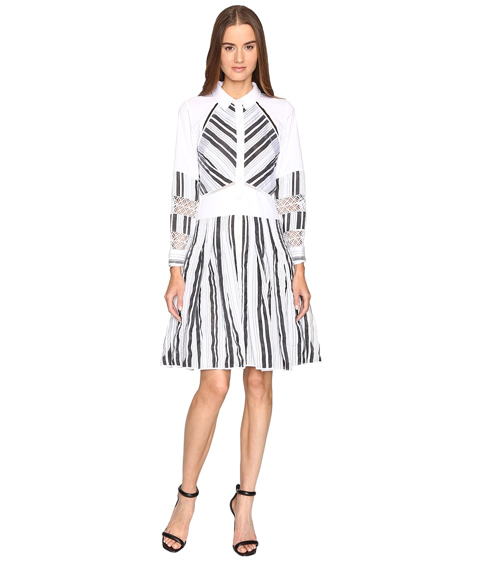 Zac Posen - Long Sleeve Stripe Cotton Organdy Dress