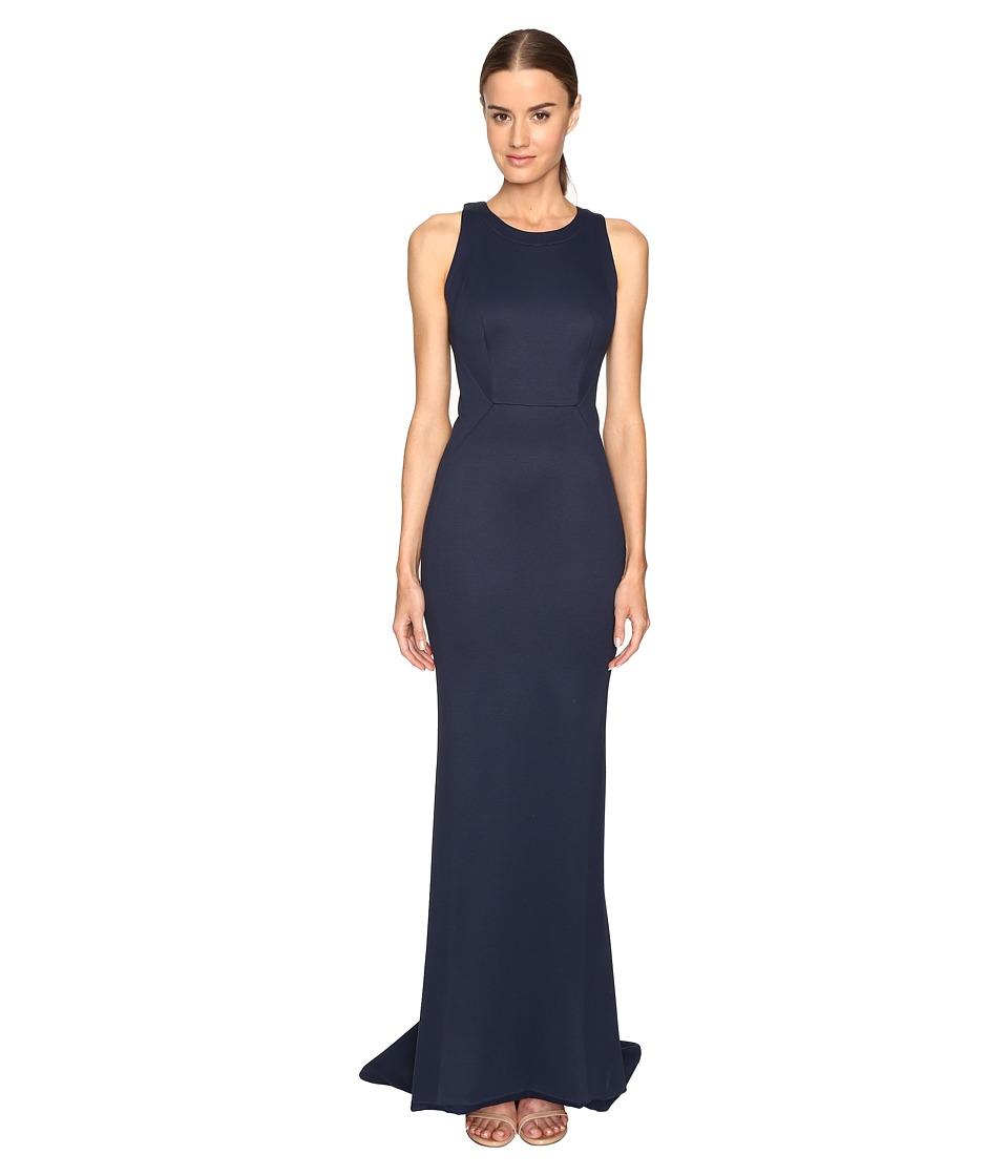 Zac Posen Bondage Jersey Sleeveless Gown (Navy) Women