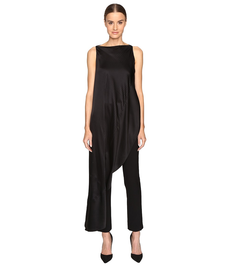 Zac Posen - Stripe Charmeuse Asymmetrical Top (Black) Womens Dress