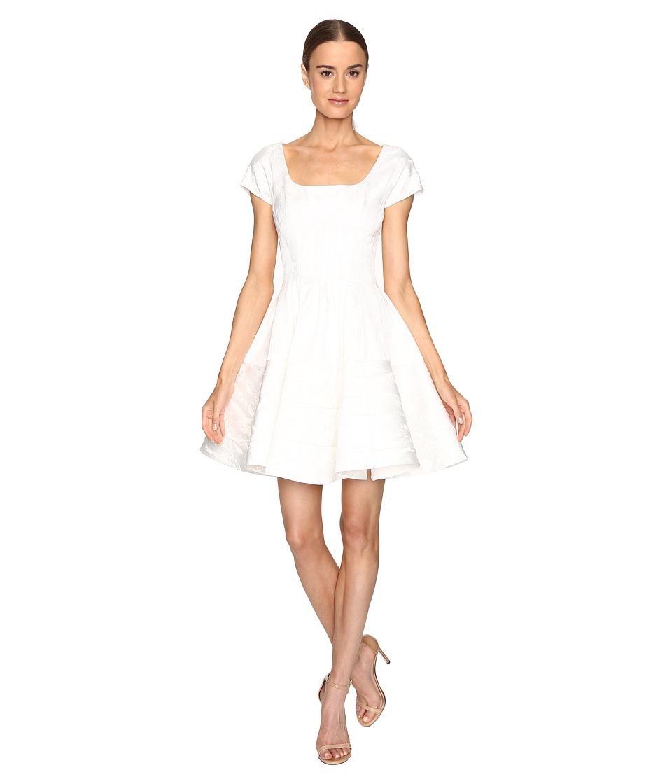 Zac Posen Party Jacquard Short Sleeve Fit and Flare Dress (White) Women