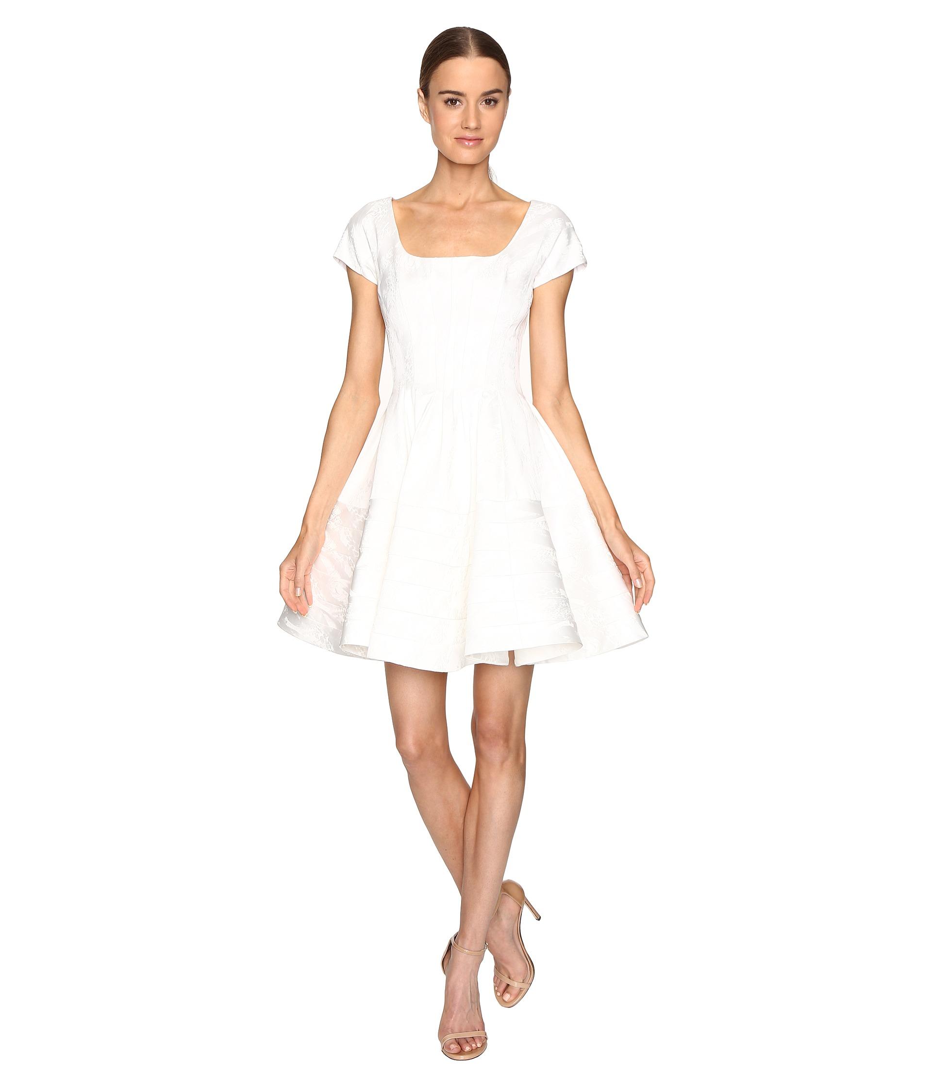 Zac posen party jacquard short sleeve fit and flare dress for Zac posen short wedding dress