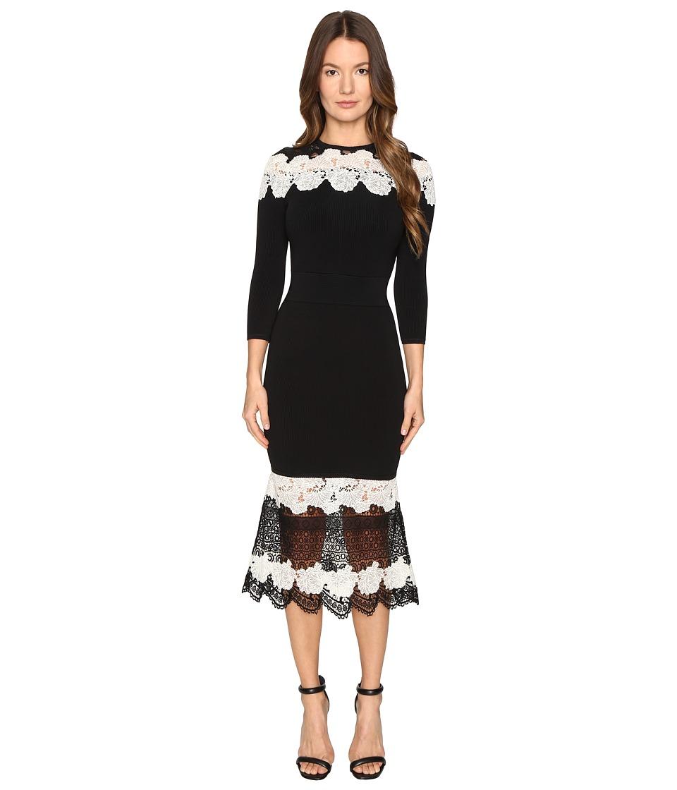 YIGAL AZROUEL Mod Lace Combo Knit Dress (Jet Multi) Women