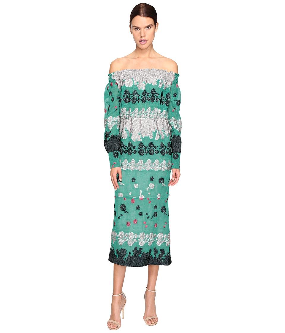 YIGAL AZROUEL Smocking Detail Off Shoulder Dress (Green) Women