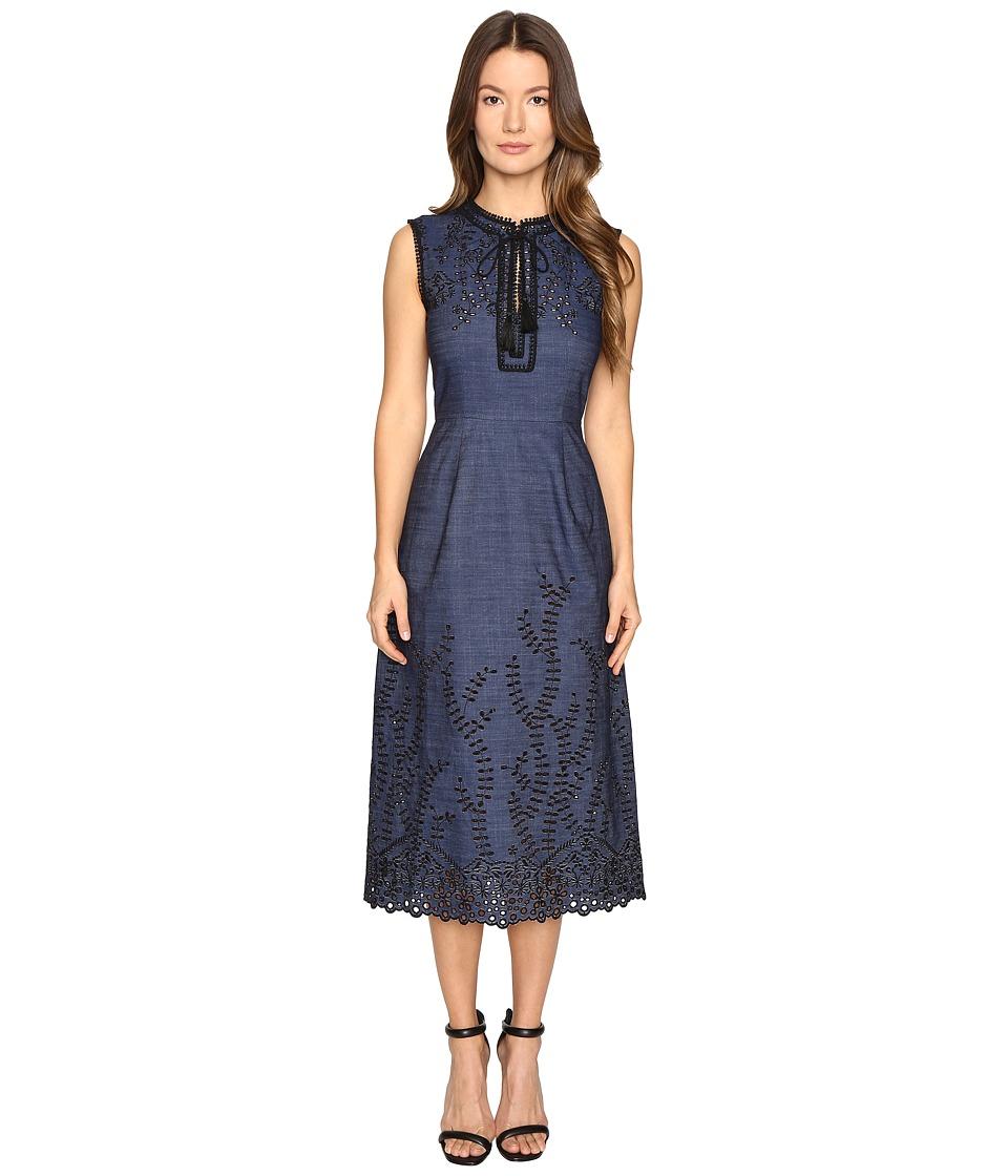 YIGAL AZROUEL Pom Pom Embroidered Dress (Denim) Women