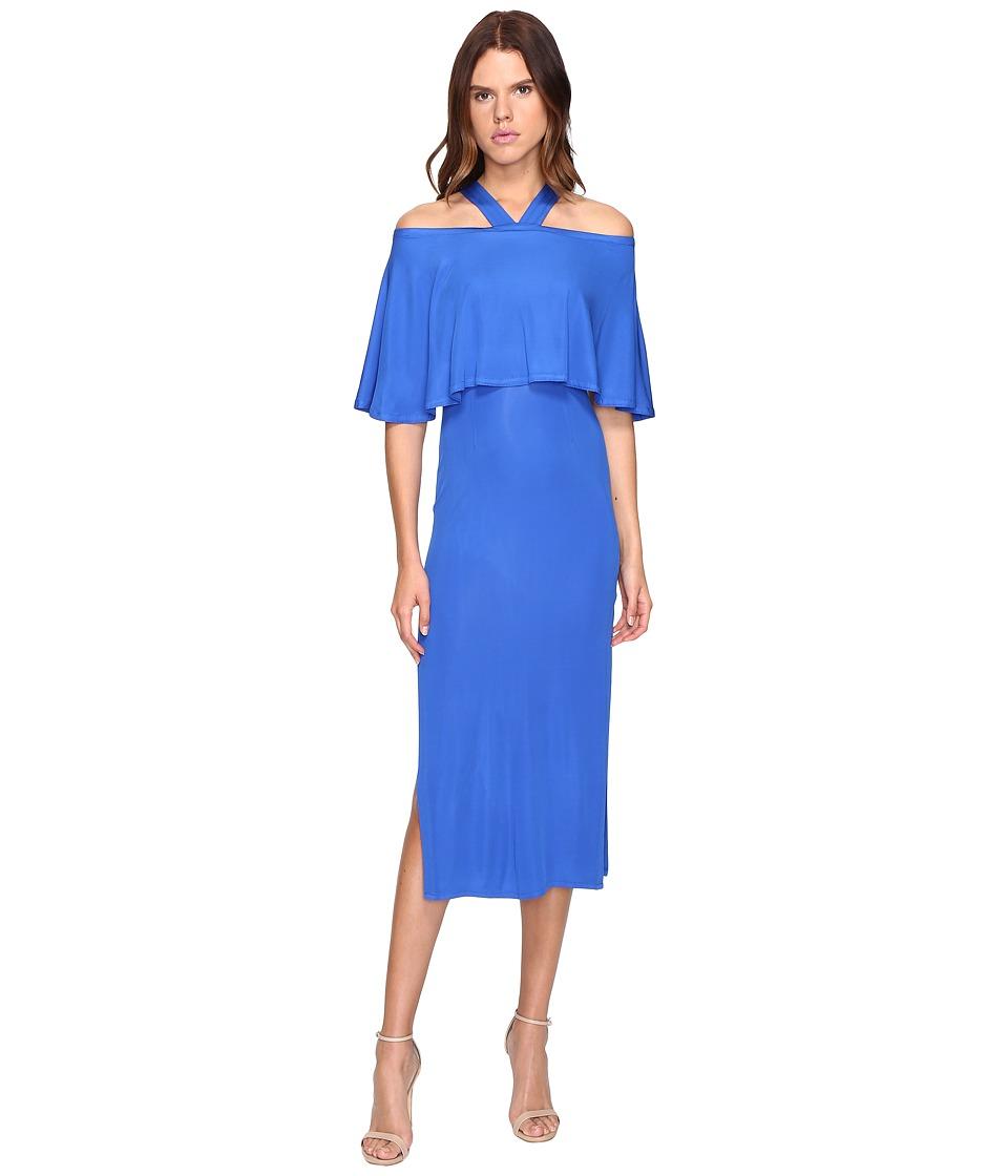YIGAL AZROUEL Cold Shoulder Matte Jersey Dress (Baja Blue) Women