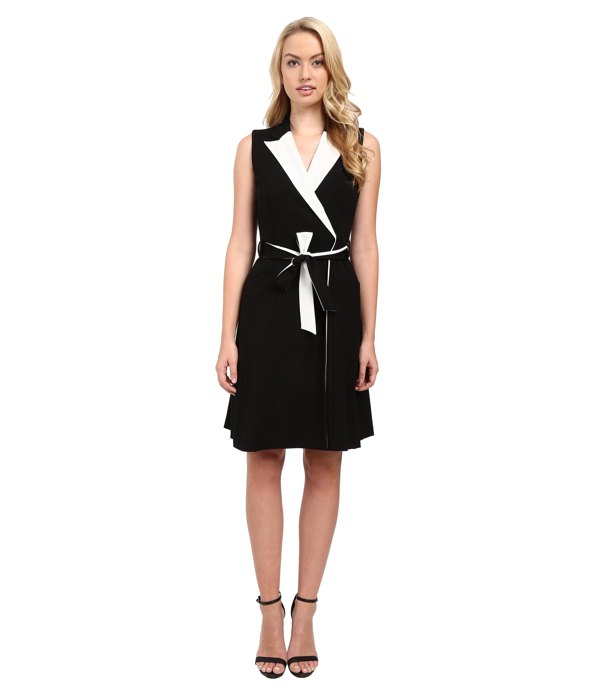 Calvin Klein Notch Collar Wrap Dress CD5X1095 BlackCream