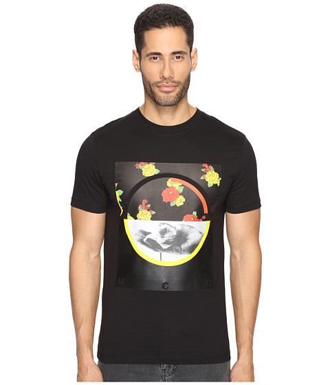 McQ Graphic Floral Short Sleeve Crew T-Shirt - Darkest Black