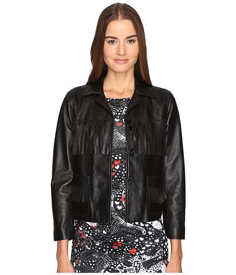 Just Cavalli Fringe Leather Button Up Jacket