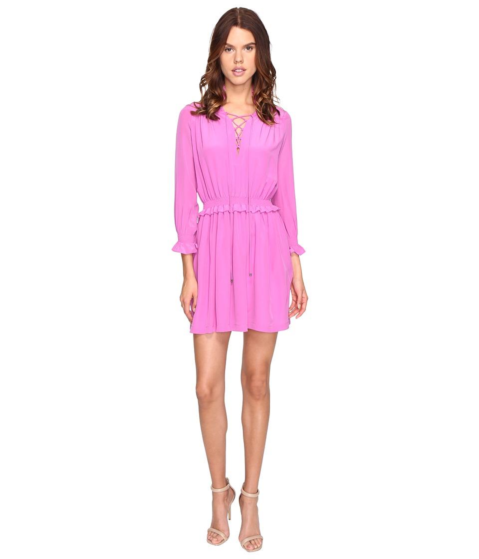 Just Cavalli Long Sleeve Tie Neck Dress (Pink) Women