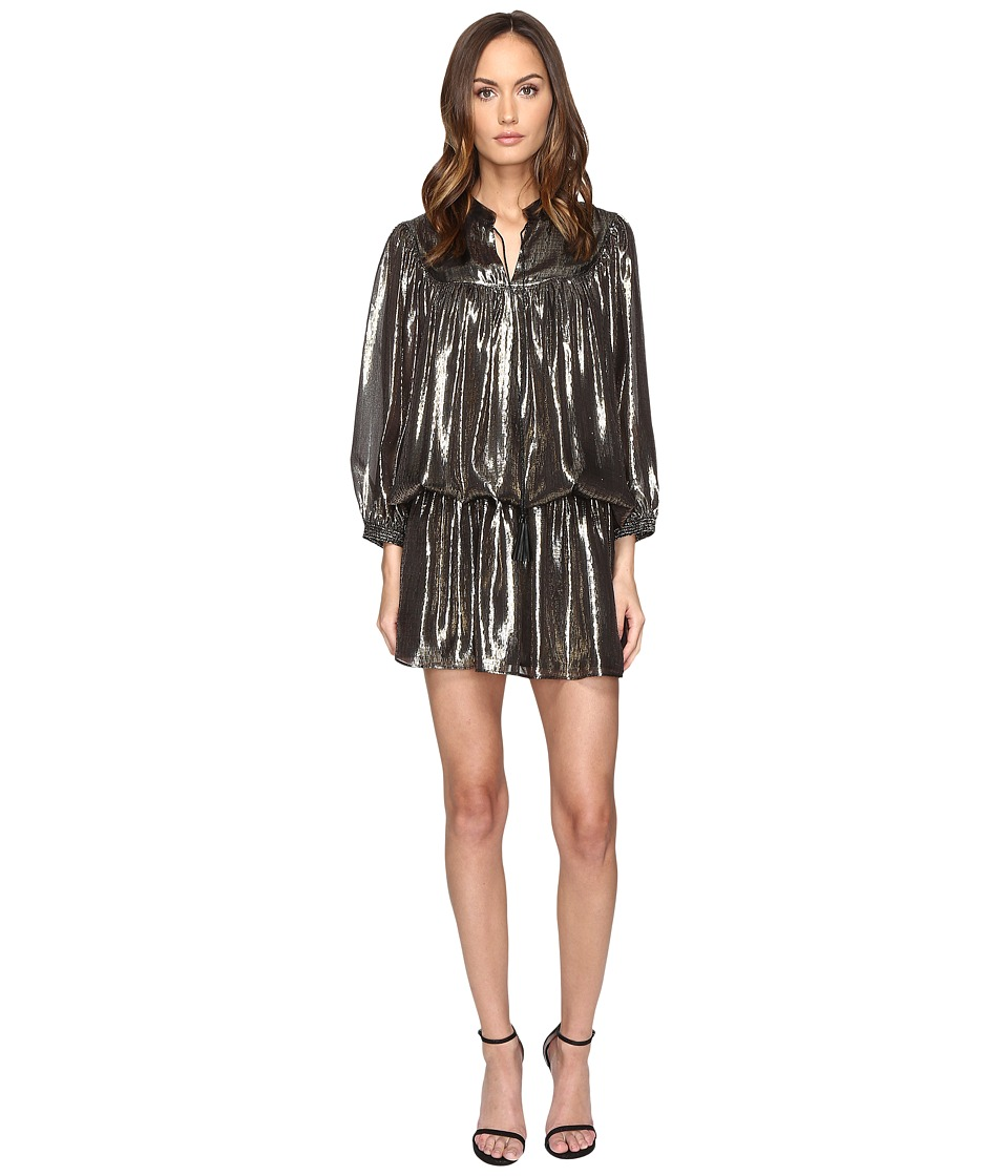 Just Cavalli Long Sleeve Metallic Cinched Drop Waist Dress (Black) Women