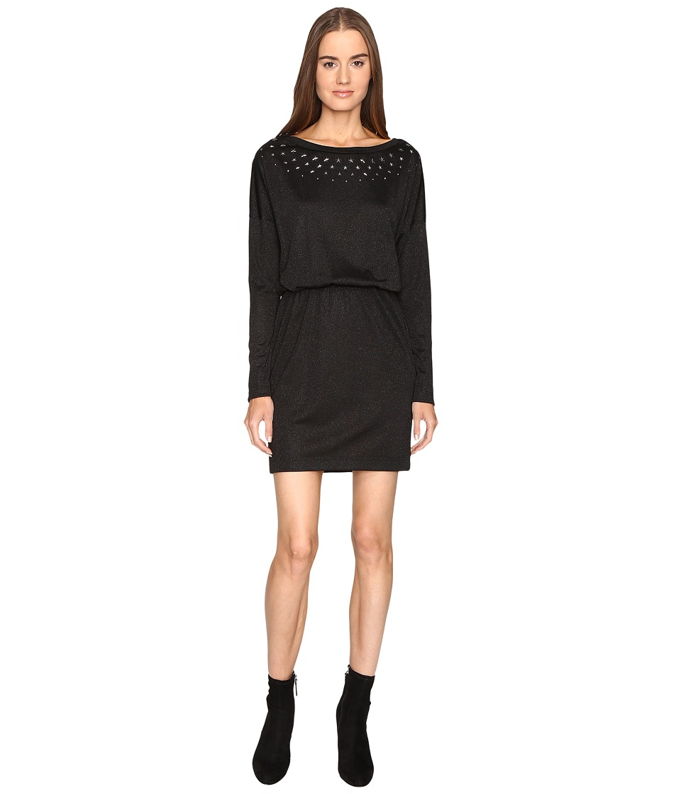 Just Cavalli Jersey Boat Neck Long Sleeve Dress (Black) Women