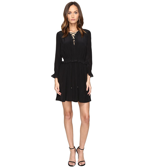 Just Cavalli Long Sleeve Tie Neck Dress
