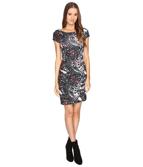 Just Cavalli Short Sleeve Cat and Tails Printed Jersey Dress