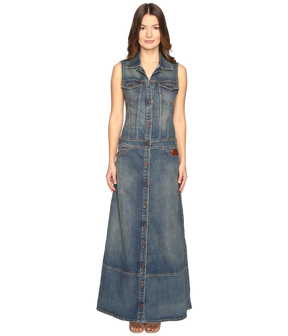 Just Cavalli Sleeveless Button Front Denim Maxi Dress (Denim) Women