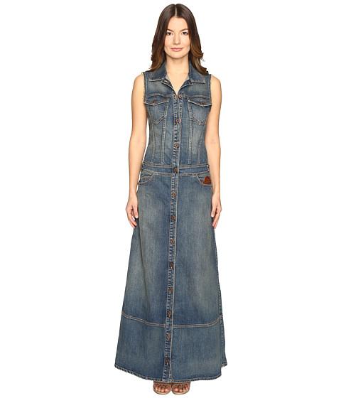 Just Cavalli Sleeveless Button Front Denim Maxi Dress