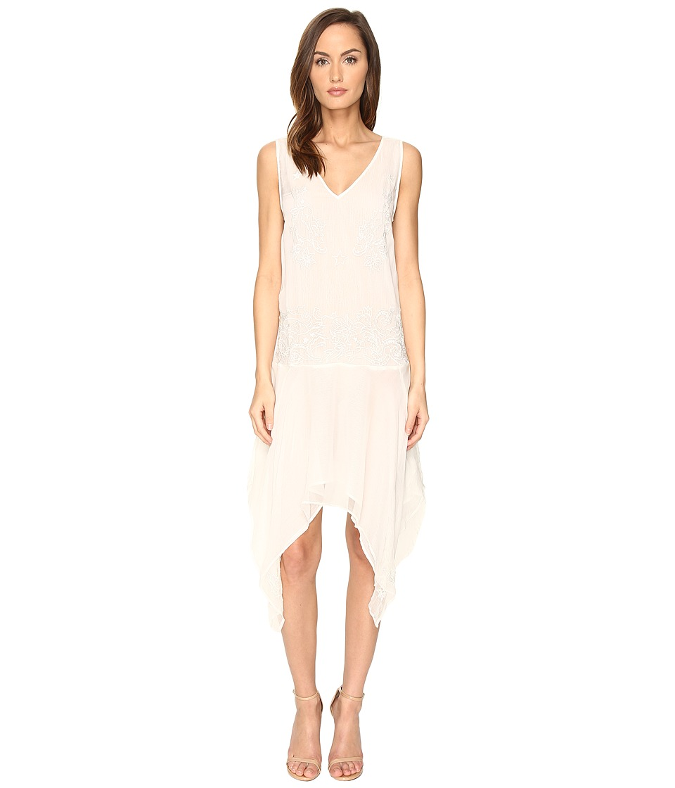 Just Cavalli Sleeveless V-Neck Embroidered Handkerchief Hem Dress (Ivory) Women