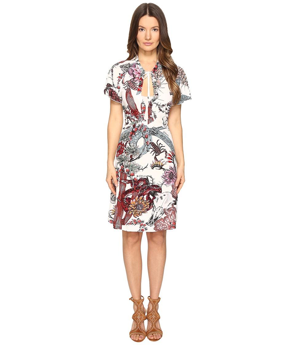 Just Cavalli Short Sleeve Desert Garden Jersey Printed Dress (White) Women