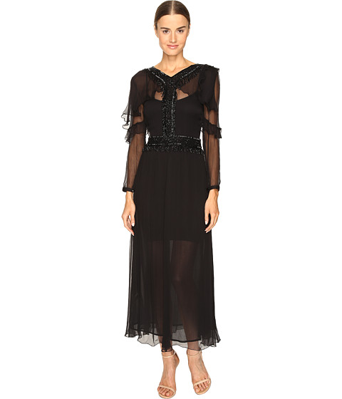Just Cavalli 3/4 Sleeve Sheer Embellished Gown