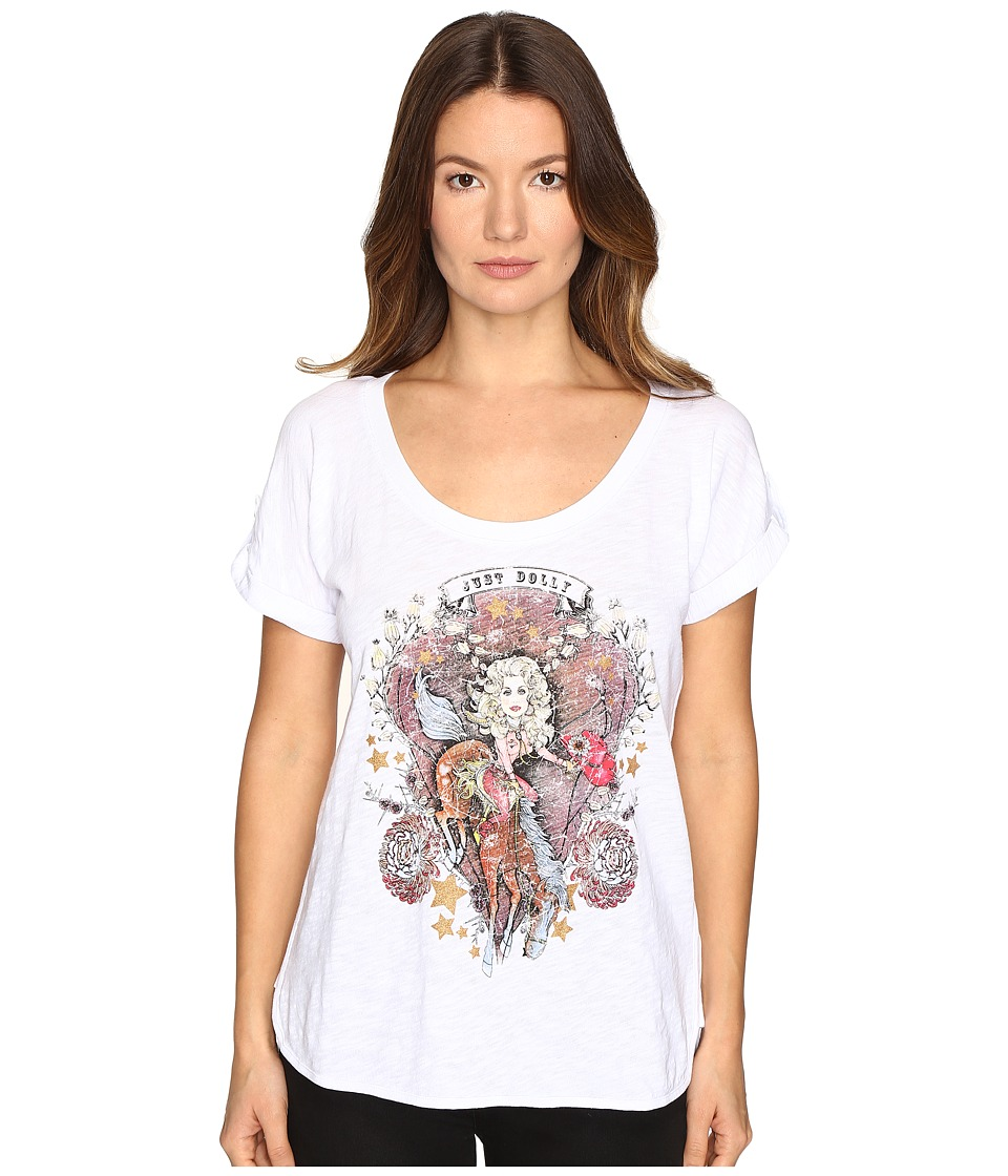 Just Cavalli Dolly Parton Short Sleeve Scoop Neck T-Shirt (White) Women