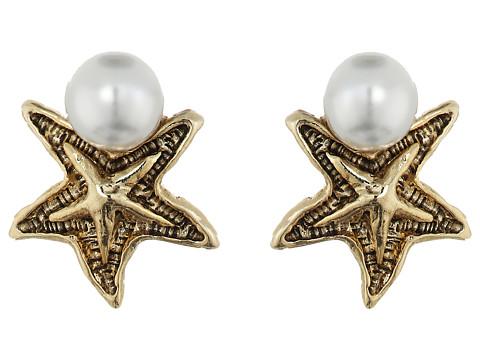 Oscar de la Renta Pave Sea Star Pearl Button P Earrings