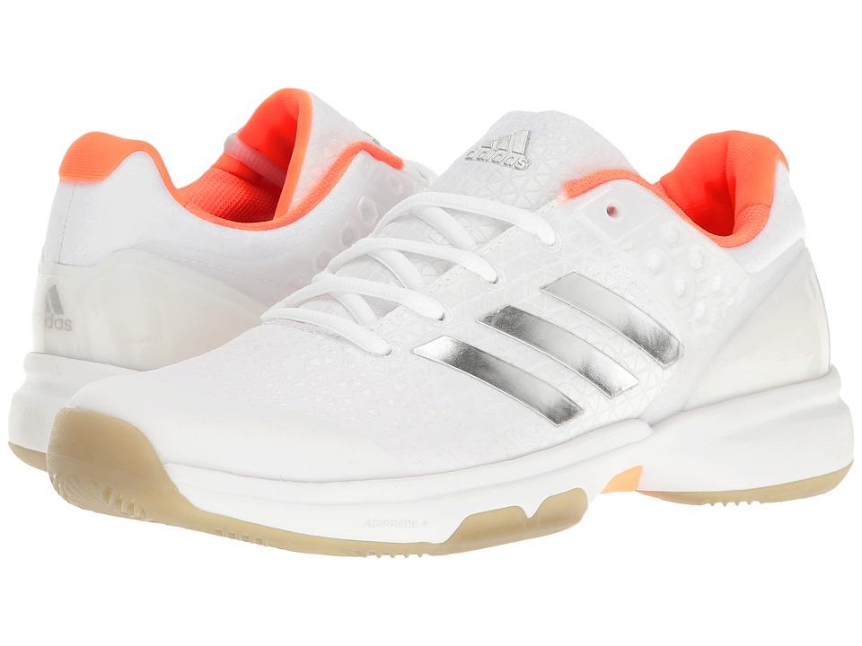 adidas Adizero Ubersonic 2 (Footwear White/Silver Metallic/Glow Orange) Women
