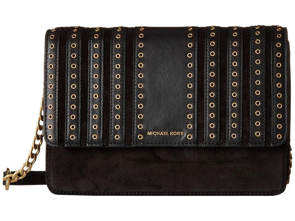 MICHAEL Michael Kors - Brooklyn Grommet Lg Crossbody (Black) Cross Body Handbags