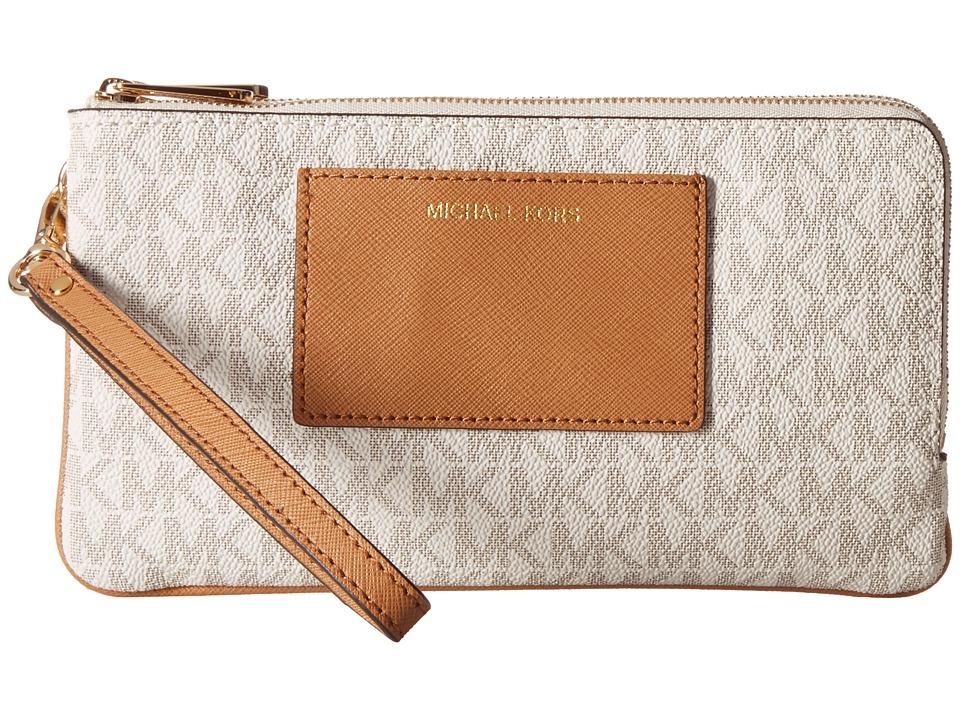 MICHAEL Michael Kors - Bedford Lg Dbzp Wrstlt W/Pkt (Vanilla/Acorn) Wristlet Handbags
