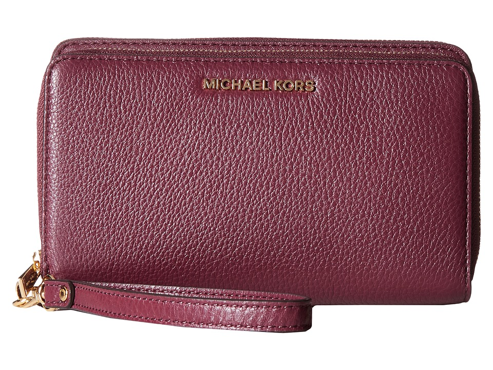 MICHAEL Michael Kors - Adele Large Flat Multifunction Phone Case (Plum) Cell Phone Case