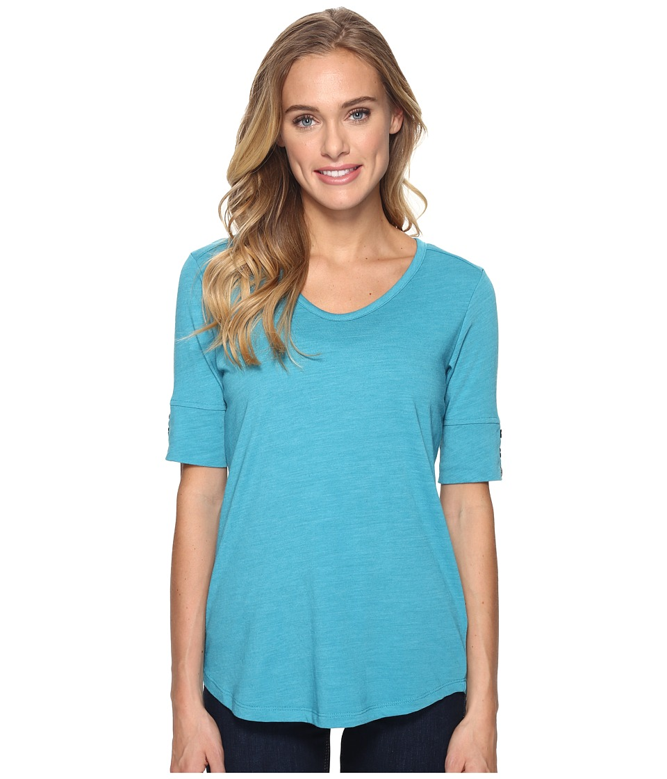 Royal Robbins Merinolux V-Neck Tee (Reservoir) Women