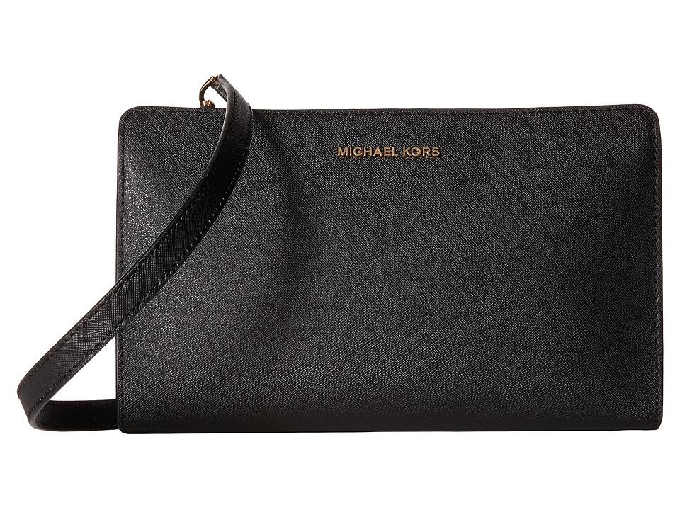 MICHAEL Michael Kors Jet Set Travel Lg Crossbody Clutch (Black) Clutch Handbags