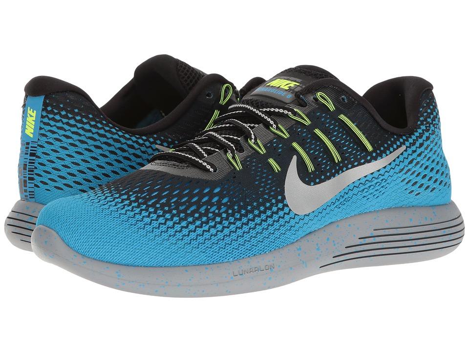 Nike LunarGlide 8 Shield (Black/Metallic Silver/Blue Glow/Stealth) Men