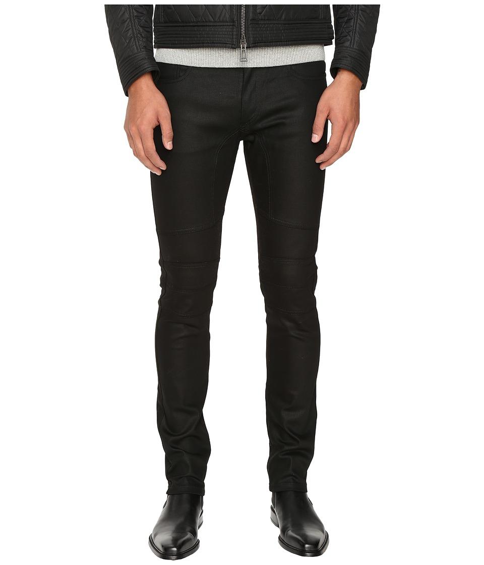 Image of BELSTAFF - Elmbridge Slim Fit Resin Coated Stretch Motor Denim in Black (Black) Men's Jeans