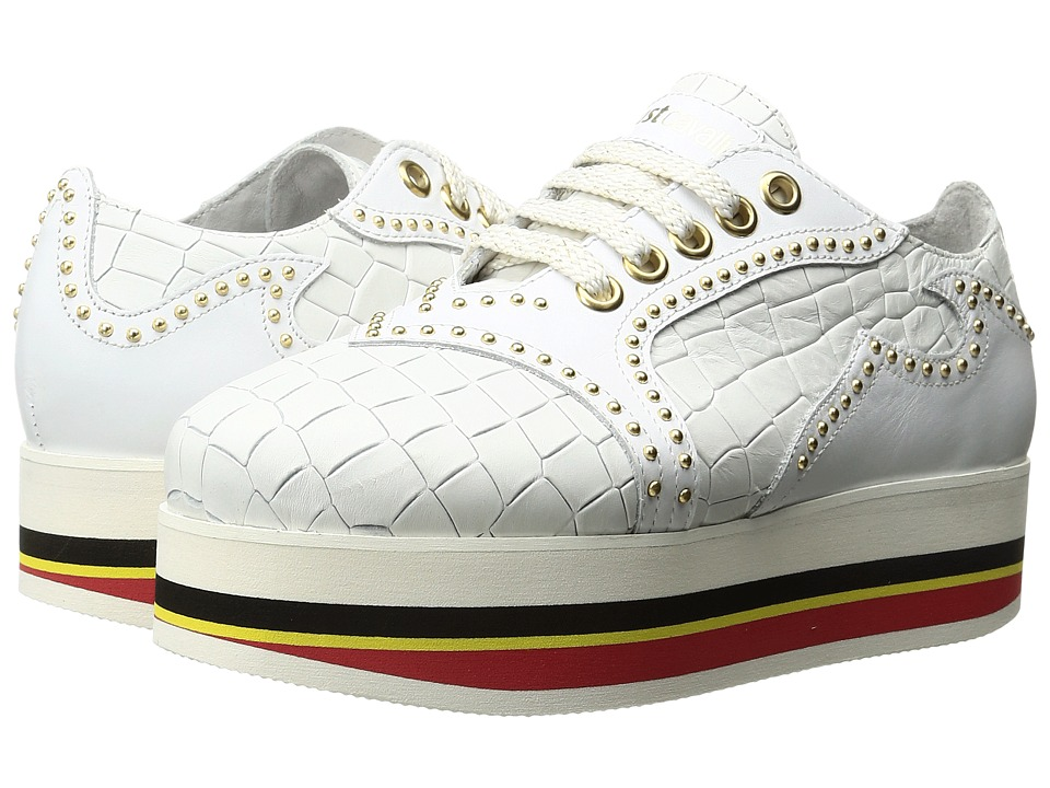 Just Cavalli Cocco Printed Leather Sneaker (White) Women