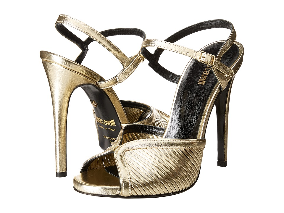 Just Cavalli Laminated Leather Open Toe Heels (Gold) High Heels