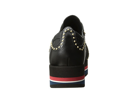 JUST CAVALLI Cocco Printed Leather Sneaker in Black