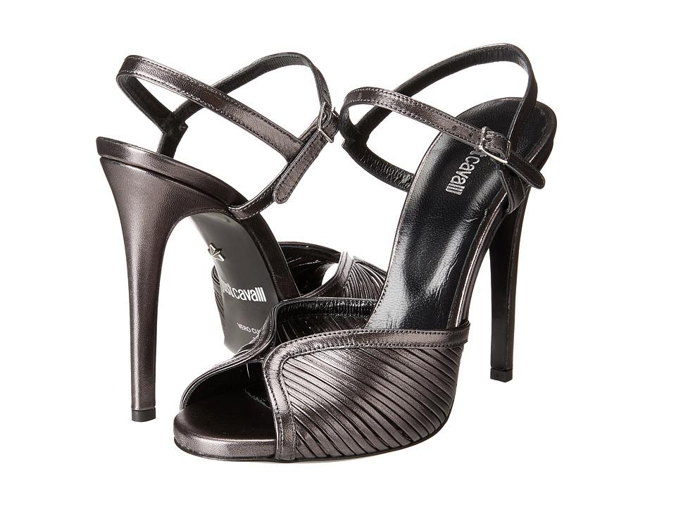Just Cavalli Laminated Leather Open Toe Heels (Multicolor) High Heels