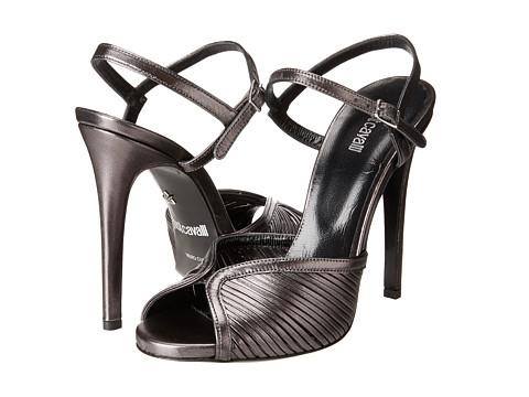 Just Cavalli Laminated Leather Open Toe Heels