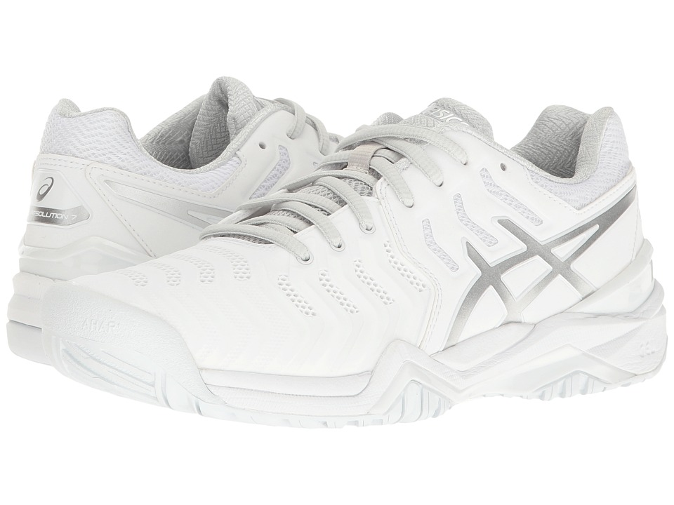 Asics Gel-Resolution 7 (White/Silver) Women's Tennis Shoes