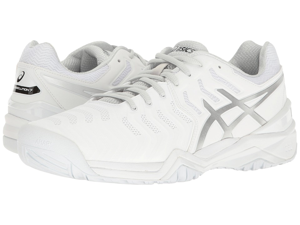 Asics Gel-Resolution 7 (White/Silver) Men's Tennis Shoes