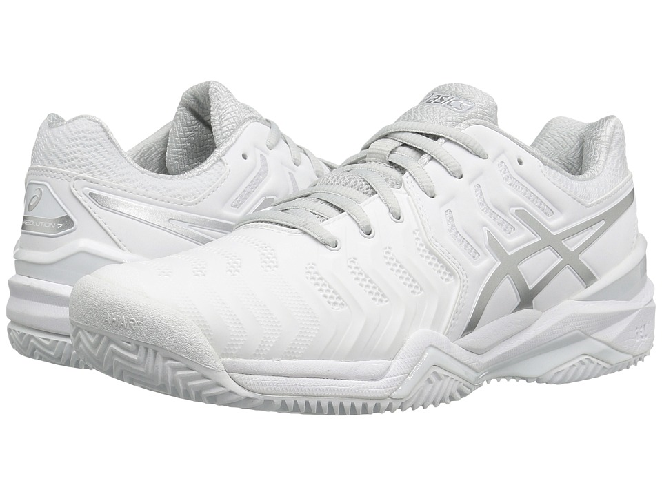 ASICS - Gel-Resolution 7 Clay Court (White/Silver) Womens Tennis Shoes