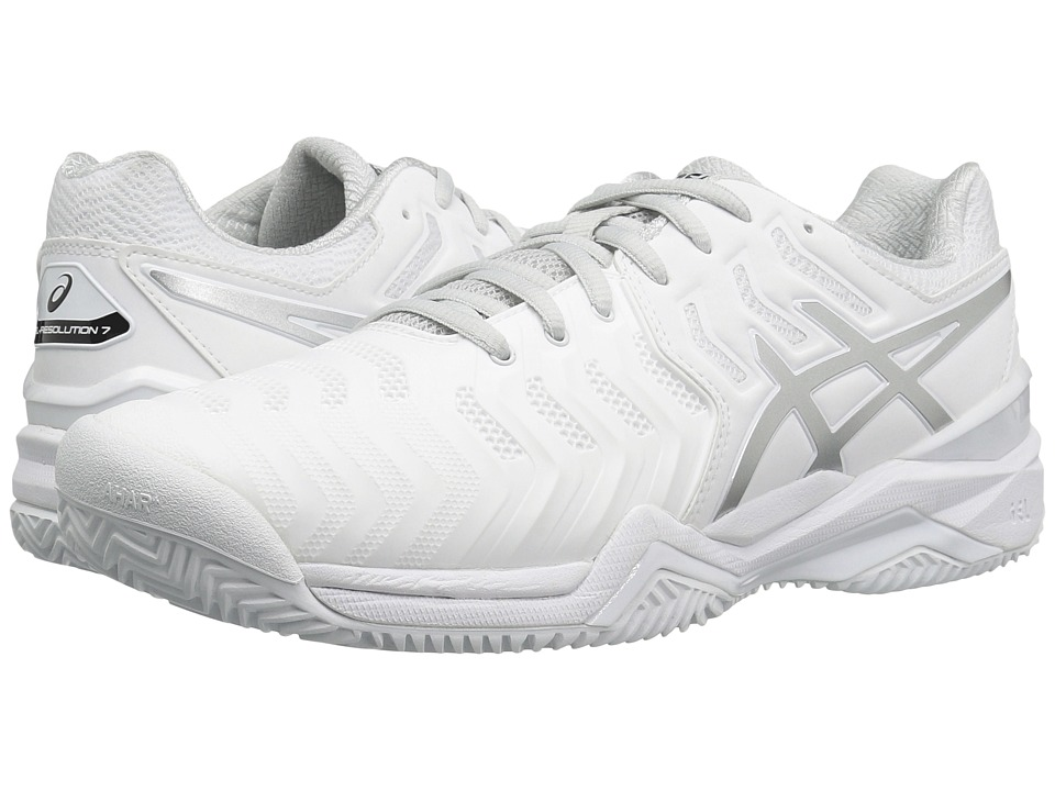 ASICS - Gel-Resolution 7 Clay Court (White/Silver) Mens Tennis Shoes