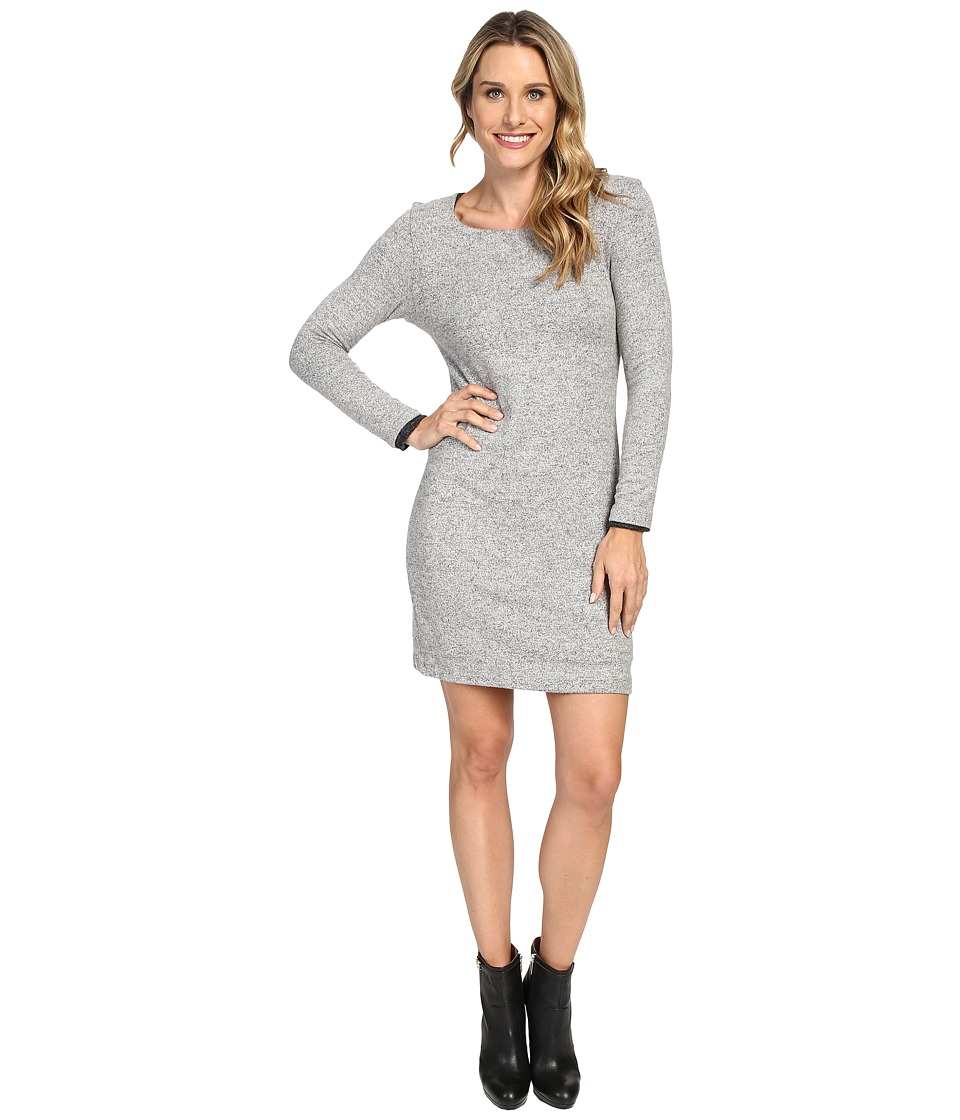 Nally & Millie Long Sleeve Brushed Sweater Reversible Dress (Heather Grey) Women