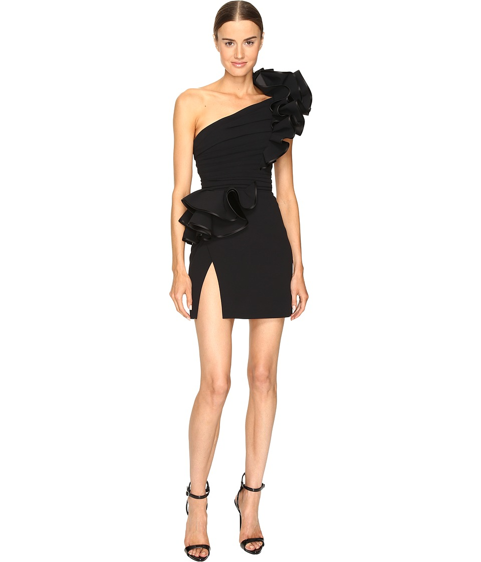 DSQUARED2 Colby One Shoulder High Ruffle Dress (Black) Women