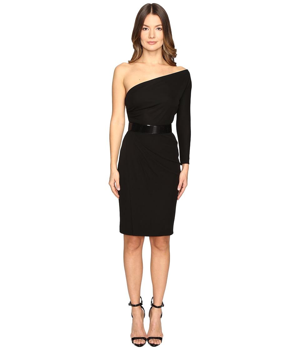 DSQUARED2 Viscose One Shoulder Long Sleeve Crepe Dress (Black) Women