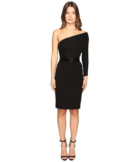 DSQUARED2 Viscose One Shoulder Long Sleeve Crepe Dress - Black