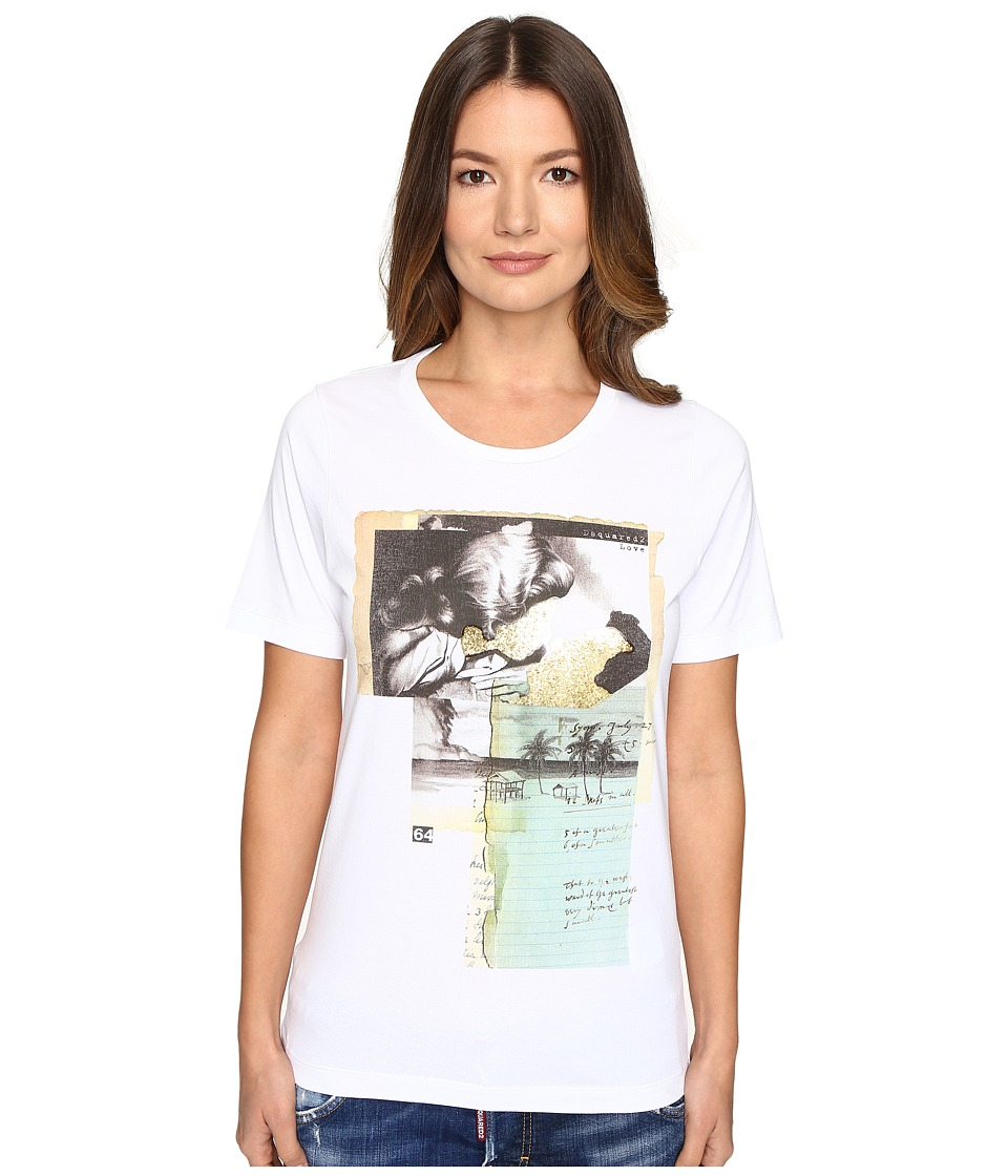 DSQUARED2 Liza Glitter Faced Couple Jersey Tee (White) Women